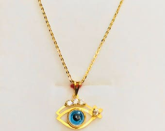 18 inches solid 22k gold 916 gold slim polo chain and evil eye  pendant chain necklace set