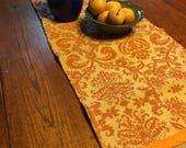 Rusty Orange Print Burlap Table Runner