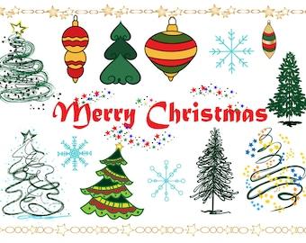"Christmas Tree Clipart: ""CHRISTMAS CLIPART"" Christmas clip art,Christmas Ornaments, Holiday Clipart,Christmas Vector,Snowflake clipart,"