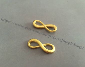 wholesale 100 Pieces /Lot Antique gold Plated 8mmx24mm Infinity 8 Charms Link Connector(#0316)