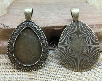 wholesale 100 Pieces /Lot Antique Bronze & silver Plated 18mmx25mm cabochon Tear Drop bezel trays charms(#0468)