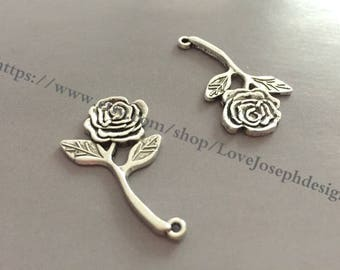 wholesale 50 Pieces /Lot Antique silver Plated 21mmx35mm Rose flower charms (#0929)