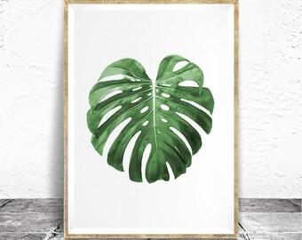 Monstera Leaf Print - Baydreem. Monstera Plant Modern Tropical Plant Wall Art Tropical Decor Monstera Leaf Poster Monstera Art Monstera Leaf