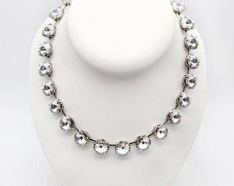 SUMMER20 Anna Wintour Style Crystal Clear Collar Necklace, 14mm Swarovski Crystal Rivoli Harper Collar Rhinestone Necklace.