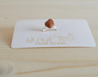 Coral natural stone ring - silver