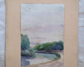 Old French Watercolor on parchment paper, 1920's original