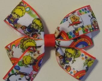 Rainbow Brite hair bow, party bow, baby hair bow, fantasy hair bows, birthday bow, Rainbow bright hair bow, rainbow headband, primary color