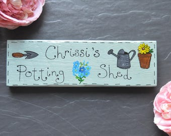 Personalised Potting Shed Sign | Wooden Handpainted | Greenhouse | Garden | Allotment | Plaque | Flower Garden | Fairy Garden | Gift