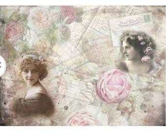 1 sheet of rice paper 39.5 x 28.5 cm decoupage collage VINTAGE Lady ROSE 03 L