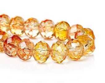 10 glass Crackle 8 mm Golden ORANGE faceted beads