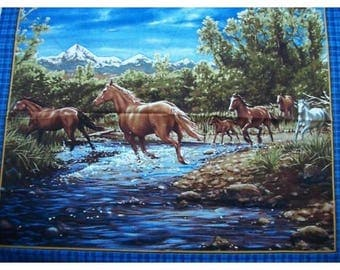 Fabric cotton decorative cushion mountain horse painting