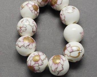 10 round ceramic beads, porcelain flower 1 cm Golden ROSE