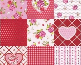 20 33 cm ROSY HEART collage decoupage paper napkins