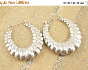 HUGE Sale Puffy Vintage Style Scalloped Oval Hinged Hoop Earrings Sterling Silver 21.3g
