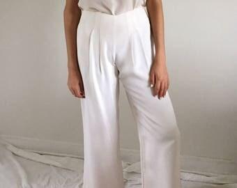 Vintage Creamy White Silk Wide Leg Trousers | size 4/6