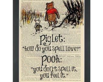 Winnie pooh piglet Love quote Nursery Dictionary Art Print