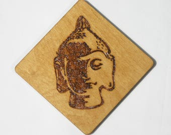 Decorative Wood Burned Buddha Head Coaster