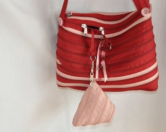 """bag shoulder strap red and pink zipper brand """"lightning"""""""
