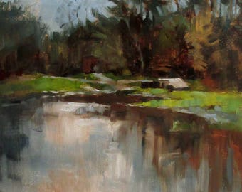 Autumn Pool, Plein Air, Original Oil Painting, One of a kind