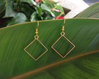 Gold Square Wire Earrings, Boho Earrings, Bohemian Earrings, Dangle Earrings