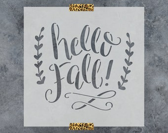 """Hello Fall Stencil - Reusable DIY Craft Stencils for Wood Signs of """"Hello Fall"""""""