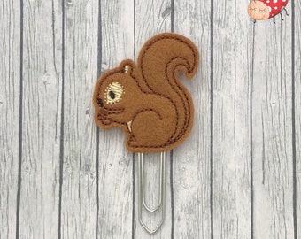 Squirrel planner clip, squirrel paperclip, embroidered planner clip, embroidered paperclip, felt planner clip, felt paperclip