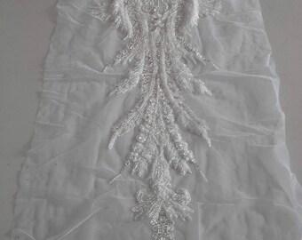 Lace Fabric/Beaded Crystal Handmade Bridal Lace/Wedding Dress