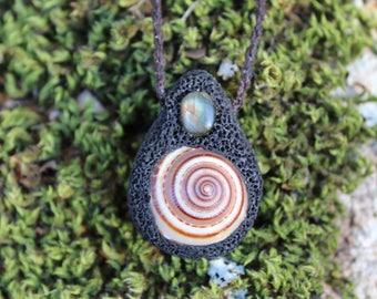 labradorite, Polymer Clay, Tribal forest Hand Made Pendant.
