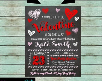 Valentine Sweetheart Hearts Baby Shower Party Chalkboard Invitations Invites Personalized ~ We Print and Mail to You