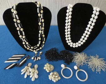 Vintage Black & White Jewelry Lot, Necklaces, Earrings, Pins, Shoe Clips