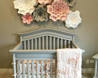 Giant 3D Paper Flower Set, Large Paper Flowers, Nursery Decor, Baby Shower Backdrop