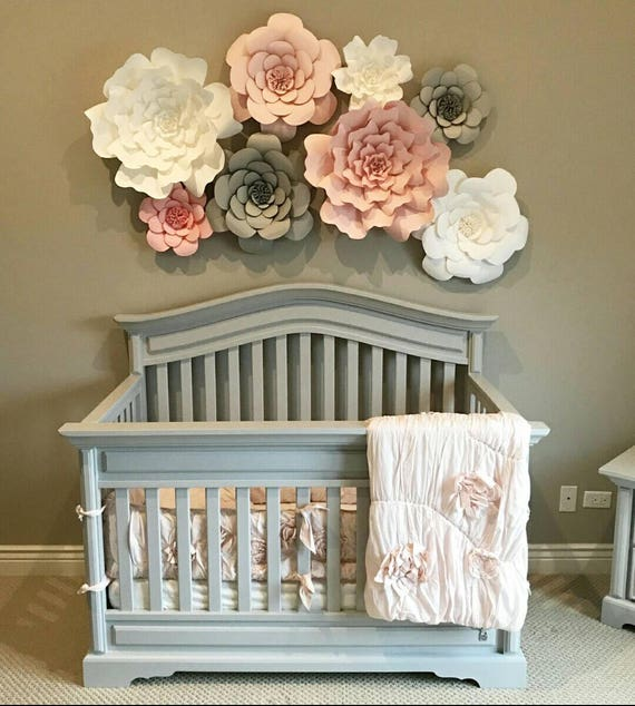 Diy Baby Nursery Floral Wall Decor: Giant 3D Paper Flower Set Large Paper Flowers Nursery Decor