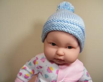 knit /crochet baby blue hat w/roll brim w/pom pom and booties /knit 3-6 mos