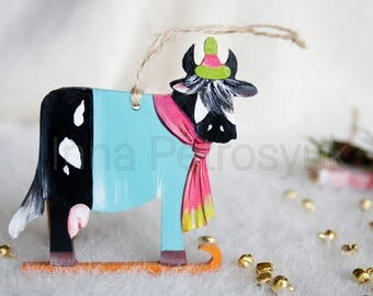 Cow Christmas ornaments handmade. Cow Christmas tree ornaments. Xmas decorations.