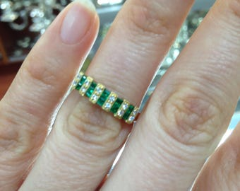Emerald and Diamond Ring Band, Yellow Gold Emerald and Diamond Ring Band