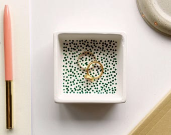 Square green dotted jewellery tray, ring tray, ring tray, trinket tray, birthday gift, gifts for her