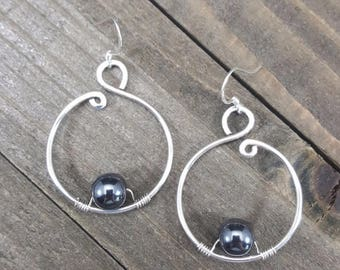 Sterling Silver Hematite Earrings