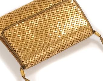 EVENING BAG CLUTCH · Vintage · Italy · Gold · Metal plates · long shoulder strap