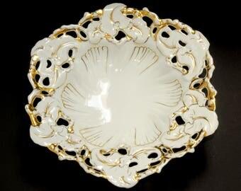 ROLOFF hand painting · Porcelain bowl · Pierced edge · elaborate decor · Gold ornament