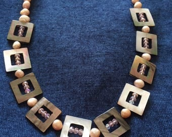Necklace with genuine mother of Pearl and genuine freshwater pearls
