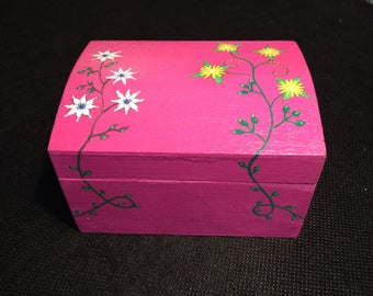 Pink with flowers wooden trinket jewellery box. Hand painted.
