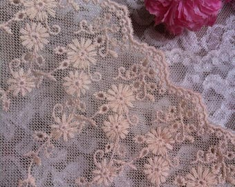 Vintage Mesh Flower Lace Trim 6.29 Inches Wide 1.09 Yard/ Craft   Supplies, WL1742