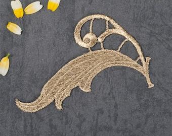 1 Pair Gold Embroidery Leaf Lace Applique DIY Trim Appliques Patch   Clothing   Accessories,WL637