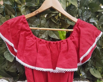 Vintage 80s Red and White Boho Folk Mexican Style Bardot Midi Dress Size S/M
