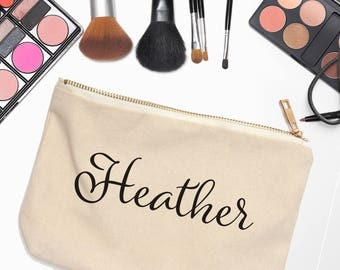 Personalized Bridesmaid Gift - Bridesmaid Cosmetic Bag - Personalized Cosmetic Case - Zipper Makeup Pouch - Pencil Case - Gift for Her