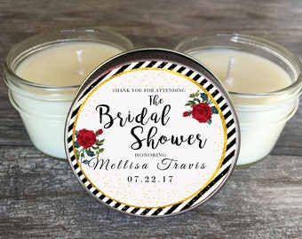 Bridal Shower Candle Favors Set of 6 - 4 oz Black and White Stripes