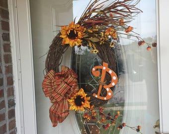 home made fall wreath