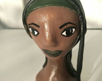 Michonne The Walking Dead figurine clay sculpture fan gift TWD fan zombie gift zombie apocalypse Danai Gurira zombie slayer characature