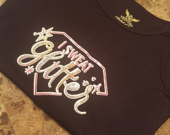 Free Shipping; Only 1 in Stock; Workout Gear; Black Tank top; I Sweat Glitter