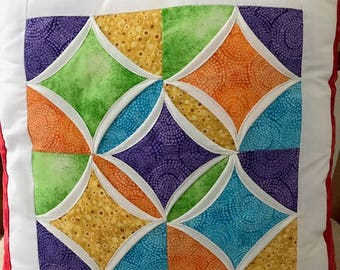 Happy Rainbow cushion handmade quilted cathedral window style